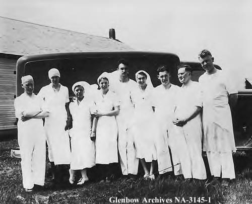 Travelling clinic staff, Peace River area, Alberta.